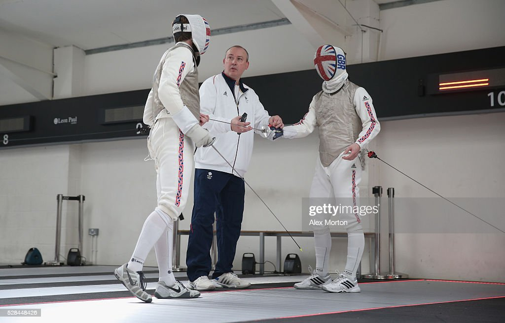 Laurence Halsted, British Fencing head coach Andrey Klyushin and Marcus Mepstead during the announcement of Fencing Athletes Named in Team GB for the Rio 2016 Olympic Games at British Fencing's Elite Training Centre on May 5, 2016 in London, England.