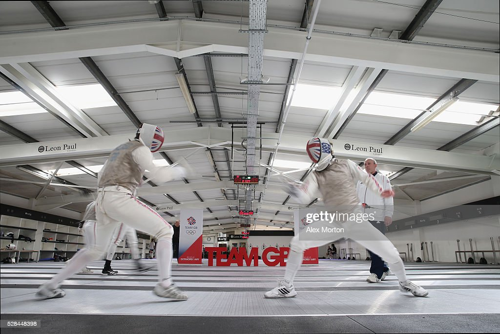 Laurence Halsted (left) spars with Marcus Mepstead (right) during the announcement of Fencing Athletes Named in Team GB for the Rio 2016 Olympic Games at British Fencing's Elite Training Centre on May 5, 2016 in London, England.