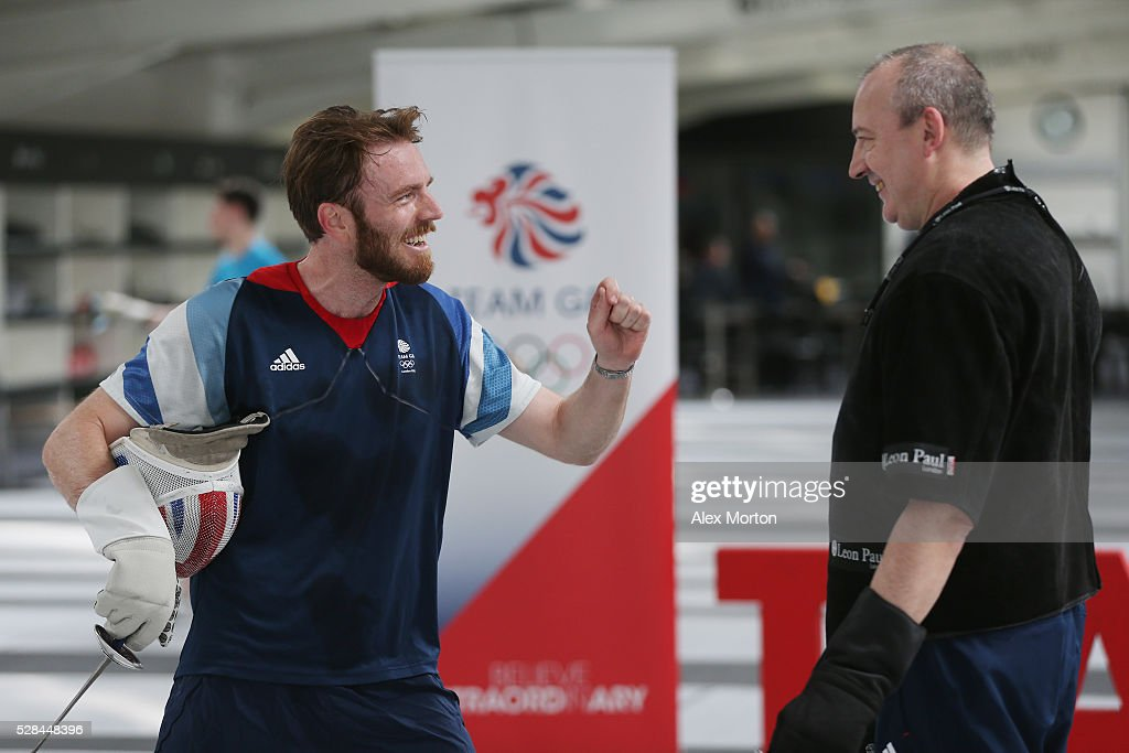 Laurence Halsted (L) talks to British Fencing head coach Andrey Klyushin during the announcement of Fencing Athletes Named in Team GB for the Rio 2016 Olympic Games at British Fencing's Elite Training Centre on May 5, 2016 in London, England.