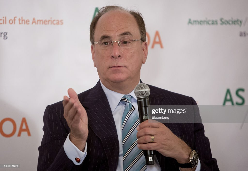 Laurence 'Larry' Fink, chairman and chief executive officer of BlackRock Inc., speaks during the Argentina Investment Conference in New York, U.S., on Friday, June 24, 2016. The Argentina Investment Conference 2016 brought together senior policy makers, investors, and international and national business leaders for an insightful discussion on foreign investment in Argentina. Photographer: Eric Thayer/Bloomberg via Getty Images