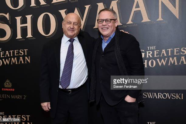 Laurence Mark and Don Lee attend 'The Greatest Showman' World Premiere aboard the Queen Mary 2 at the Brooklyn Cruise Terminal on December 8 2017 in...