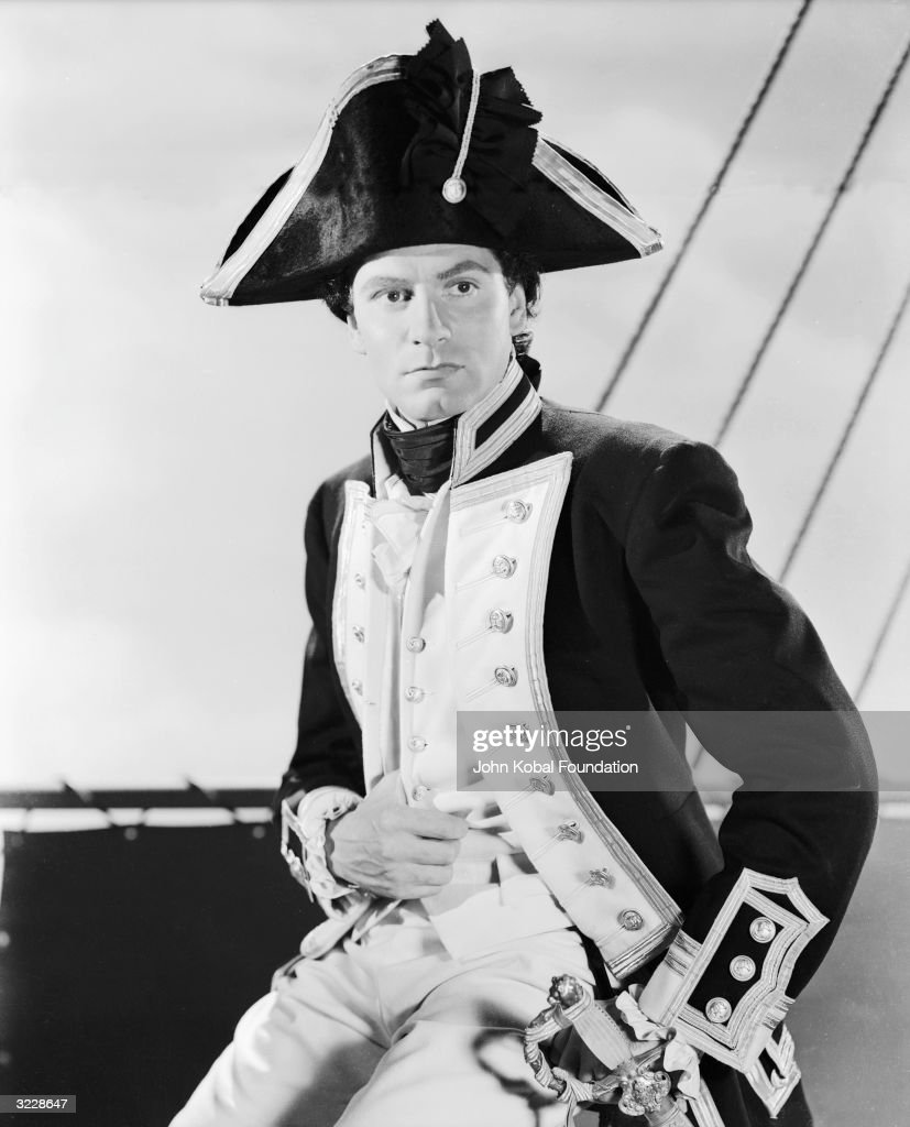 Laurence Olivier (1907 - 1989) plays Lord Horatio Nelson in 'That Hamilton Woman', directed by Alexander Korda.