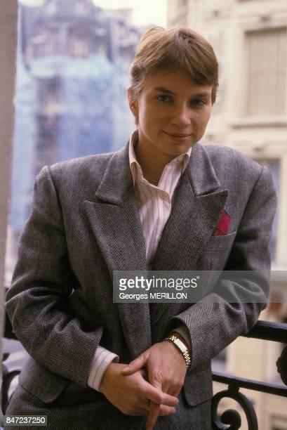 Laurence Parisot directrice de l'institut de sondage Louis Harris le 16 fevrier 1988 a Paris France