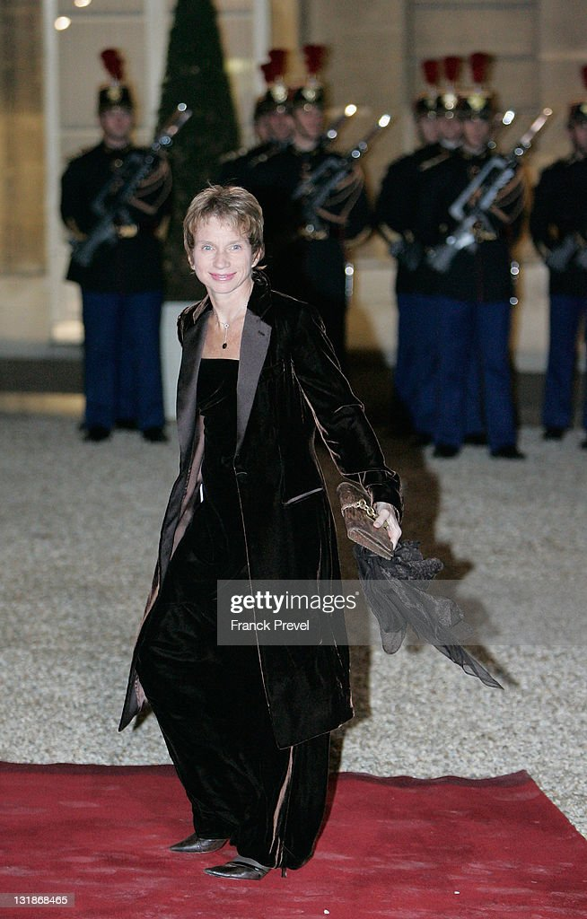 Laurence Parisot leader of the French employer's union MEDEF arrives at a state dinner honouring visiting Chinese President Hu Jintao at Elysee...