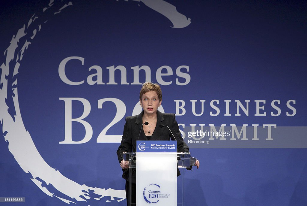 Laurence Parisot president of the Mouvement des Entreprises de France speaks during the opening session of the Business 20 business summit at the...