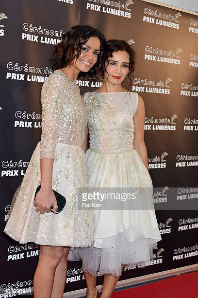 Laurence Roustandjee and Aida Touihri attend 'Les Lumieres 2015' Arrivals At Espace Pierre Cardin on February 2 2015 in Paris France