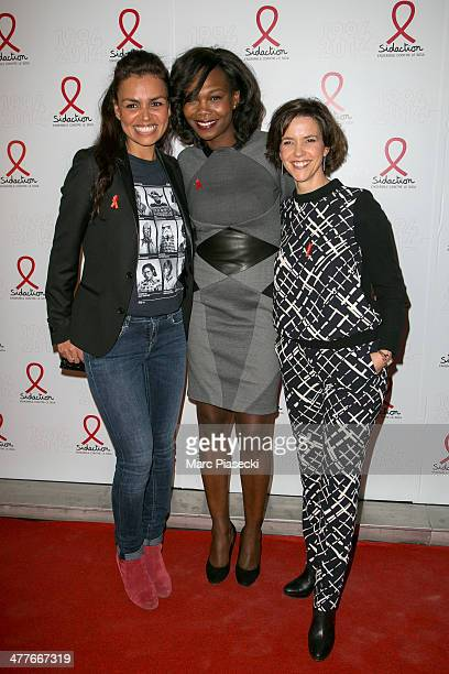 Laurence Roustandjee Kareen Guiock and Nathalie Renoux attend the 'Sidaction 20th Anniversary' at Musee du Quai Branly on March 10 2014 in Paris...