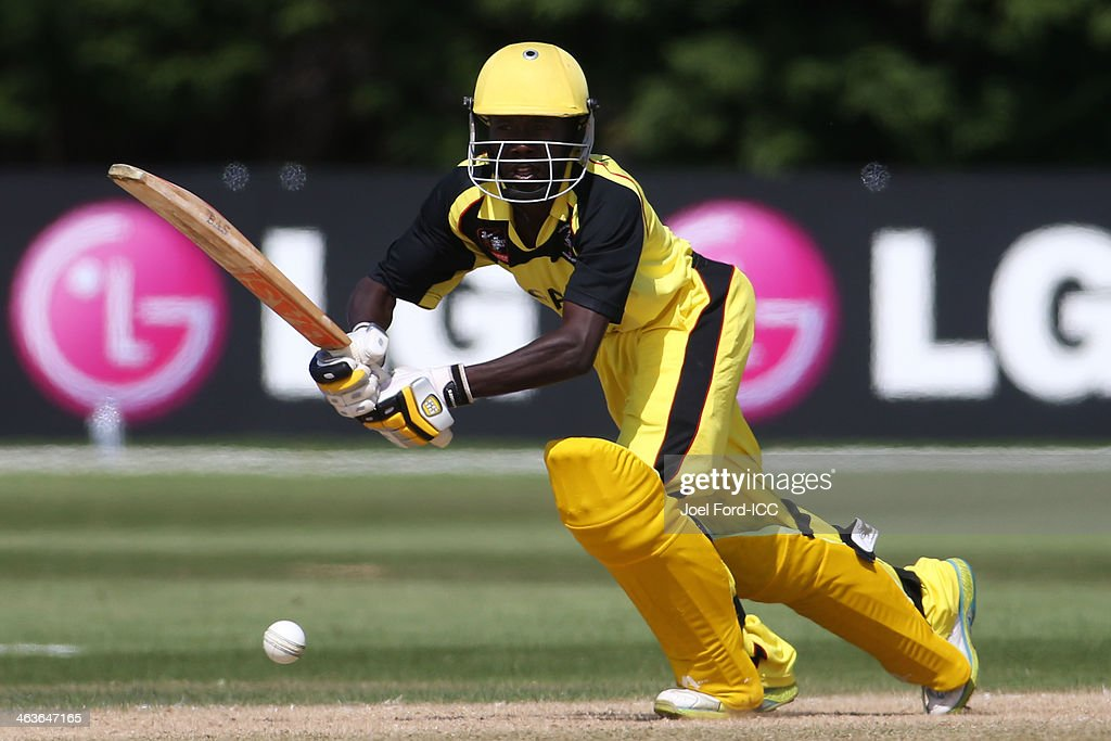 Laurence Sematimba of Uganda plays a shot during an ICC World Cup qualifying match against Kenya on January 19, 2014 in Mount Maunganui, New Zealand.