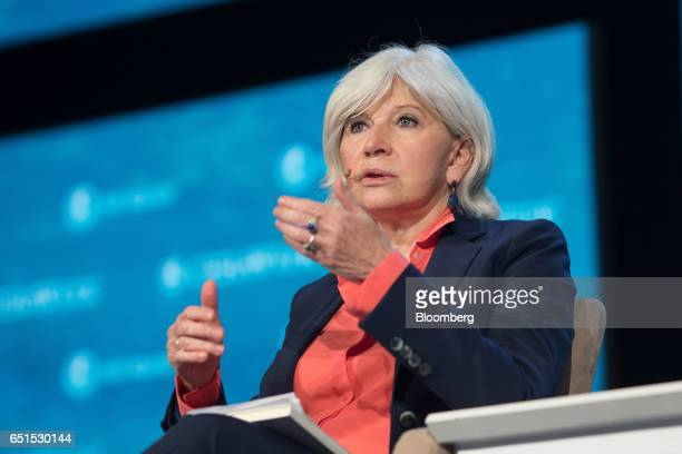 Laurence Tubiana president and chief executive officer of European Climate Foundation speaks during the 2017 CERAWeek by IHS Markit conference in...