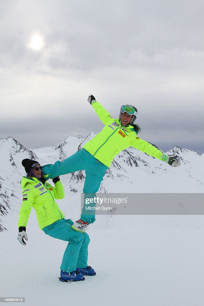Laurenne Ross and Stacey Cook during the US Ski team's photoshoot on March 09 2015 in Soelden, Austria.