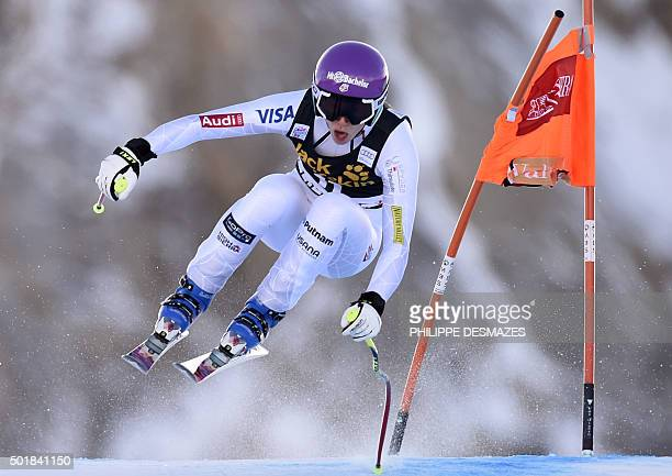 Laurenne Ross from the US competes in the Downhill of the FIS World Cup Alpine Women's Super Combined on December 18 in Vald'Isere French Alps / AFP...