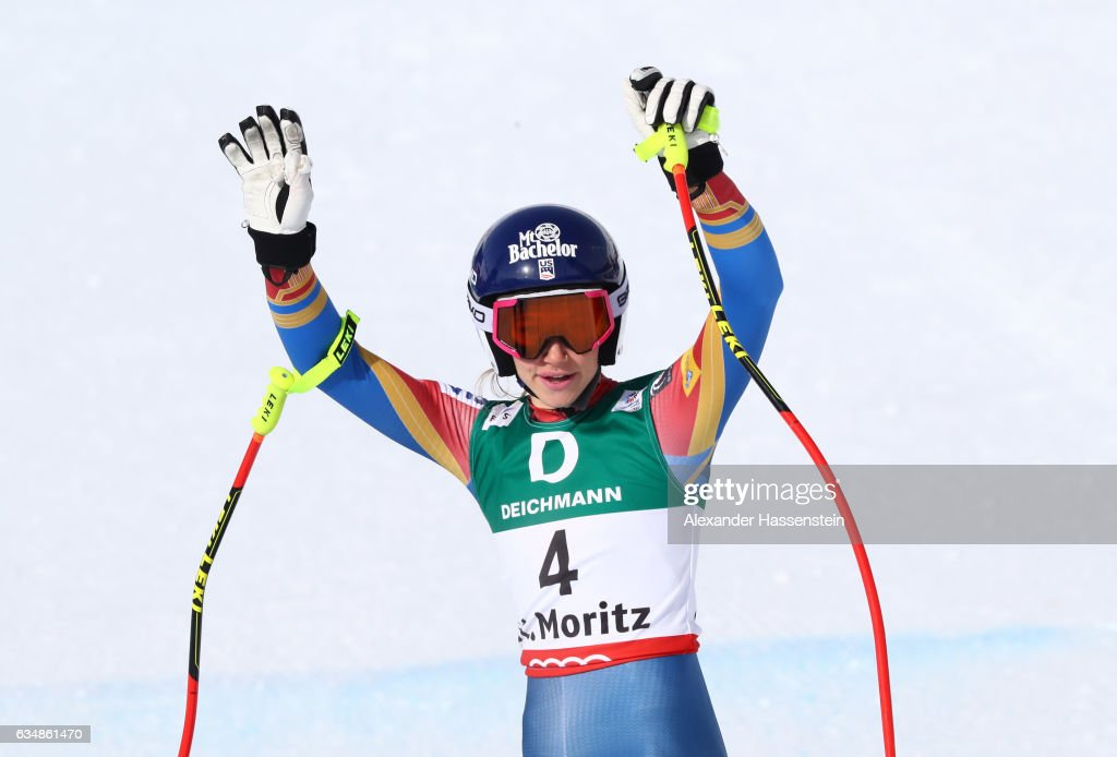 Laurenne Ross of the United States competes in the Women's Downhill during the FIS Alpine World Ski Championships on February 12, 2017 in St Moritz, Switzerland.