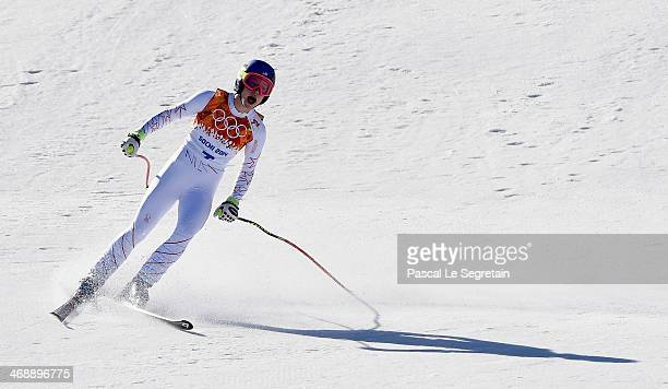 Laurenne Ross of the United States finishes a run during the Alpine Skiing Women's Downhill on day 5 of the Sochi 2014 Winter Olympics at Rosa Khutor...