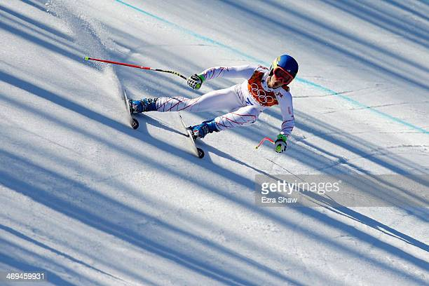 Laurenne Ross of the United States in action during the Alpine Skiing Women's SuperG on day 8 of the Sochi 2014 Winter Olympics at Rosa Khutor Alpine...