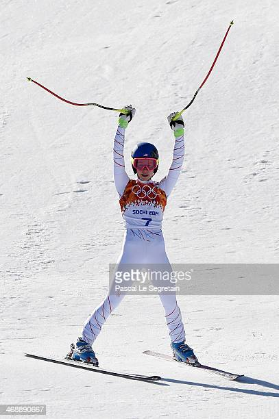 Laurenne Ross of the United States reacts after a run during the Alpine Skiing Women's Downhill on day 5 of the Sochi 2014 Winter Olympics at Rosa...