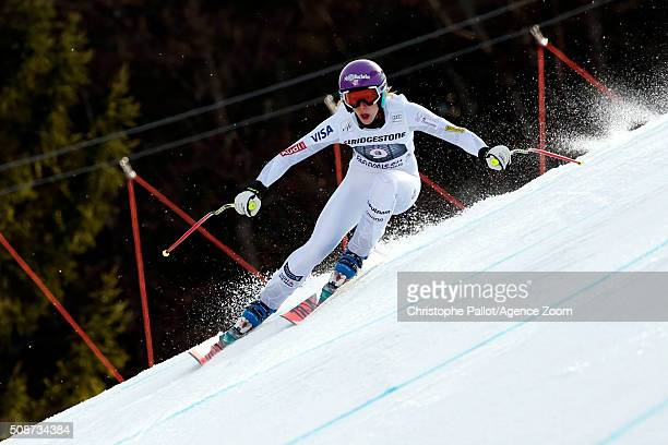 Laurenne Ross of the USA competes during the Audi FIS Alpine Ski World Cup Women's Downhill on February 06 2016 in GarmischPartenkirchen Germany