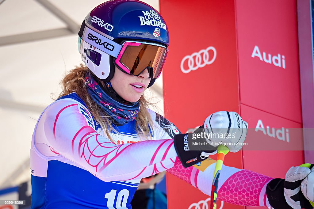 Laurenne Ross of USA at the start during the Audi FIS Alpine Ski World Cup Women's Downhill Training on December 14, 2016 in Val-d'Isere, France