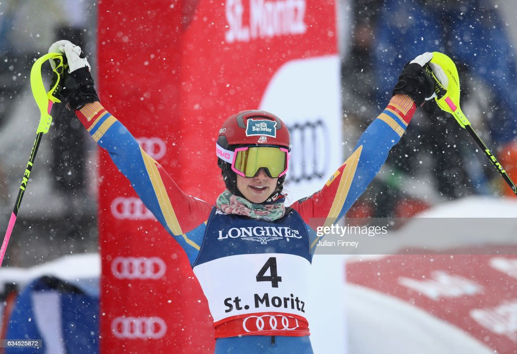 Laurenne Ross of USA reacts after the Women's Combined during the FIS Alpine World Ski Championships on February 10, 2017 in St Moritz, Switzerland.