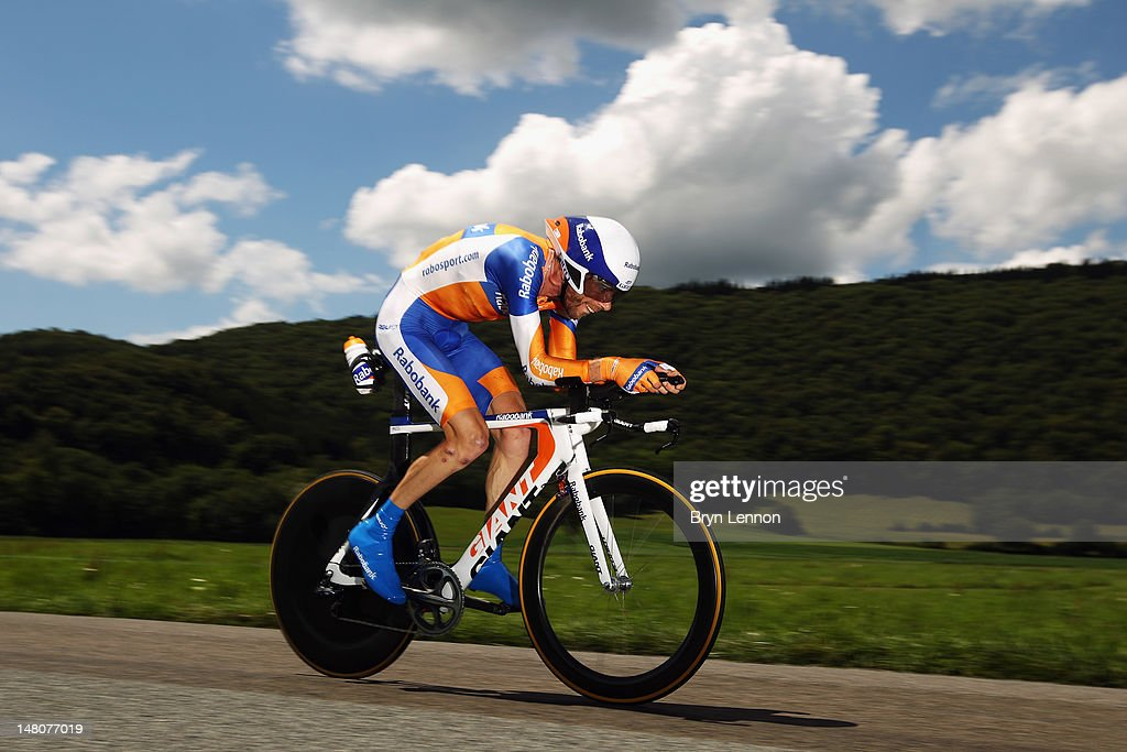 Laurens Ten Dam of The Netherlands and the Rabobank Cycling Team in action during stage nine of the 2012 Tour de France, a 41.5km individual time trial, from Arc-et-Senans to Besancon on July 9, 2012 in Besancon, France.