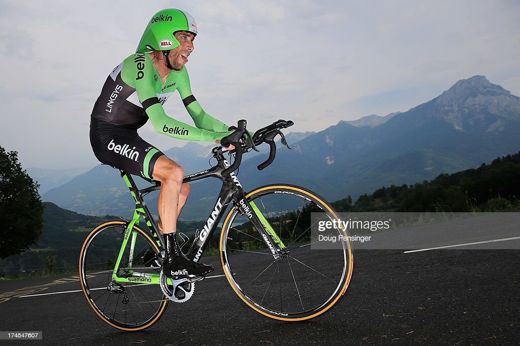 Laurens Ten Dam of the Netherlands riding for Belkin competes during stage seventeen of the 2013 Tour de France, a 32KM Individual Time Trial from Embrun to Chorges, on July 17, 2013 in Chorges, France.