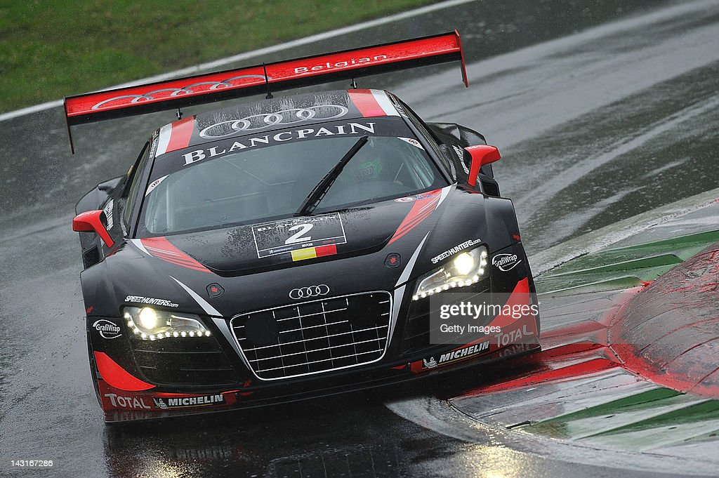 Laurens Vanthoor of Belgian Audi Club Team WRT Audi R8 LMS in action during the Blancpain GT Endurance race at Autodromo di Monza on April 15 2012 in...