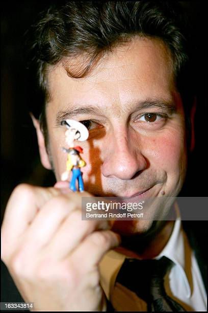 Laurent and personalities from De Lucky Luke at Laurent Gerra Meets His Double At Musee Grevin In Paris