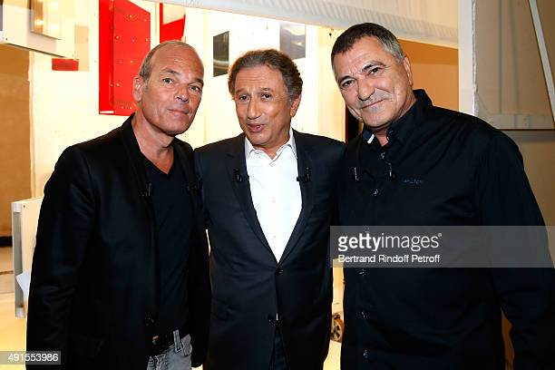 Laurent Baffie Presenter of the show Michel Drucker and Main Guest of the show Humorist JeanMarie Bigard attend the 'Vivement Dimanche' French TV...