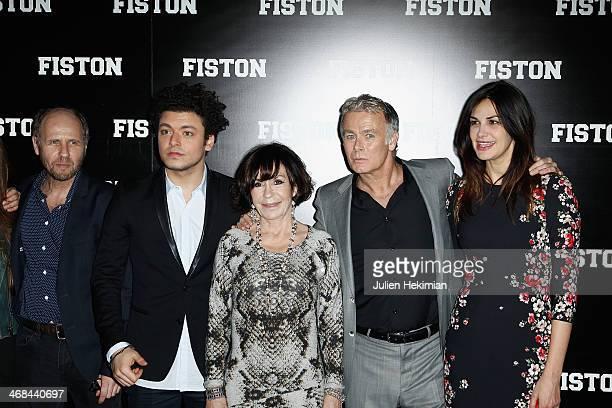 Laurent Bateau Kev Adams Daniele Evenou Franck Dubosc and Helena Noguerra attend 'Fiston' Paris Premiere at Le Grand Rex on February 10 2014 in Paris...