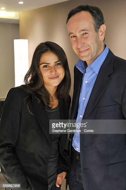 Laurent Bazin and Sonia Chironi attend the 'ITele' press conference