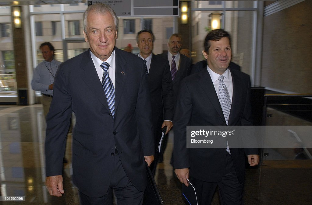 Laurent Beaudoin, chairman of Bombardier Inc., left, and Pierre Beaudoin, president and chief executive officer, arrive for the company's annual shareholders meeting in Montreal, Canada, on Wednesday, June 2, 2010. Bombardier Inc., the world's third-largest commercial planemaker, said first-quarter profit fell 3.2 percent as the economic crisis curbed demand for business and regional jets. Photographer: John Morstad/Bloomberg via Getty Images