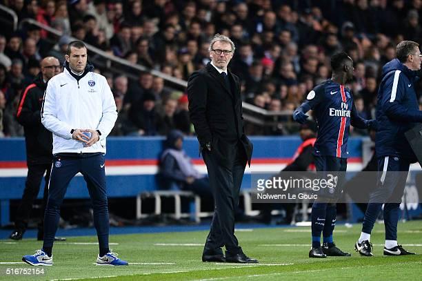 Laurent Blanc coach of Paris Saint Germain and Jean Kevin Augustin of Paris Saint Germain during the French Ligue 1 match between Paris SaintGermain...