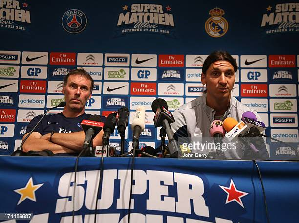 Laurent Blanc coach of Paris SaintGermain and Zlatan Ibrahimovic of PSG attend a press conference on the eve of the friendly match between Paris...