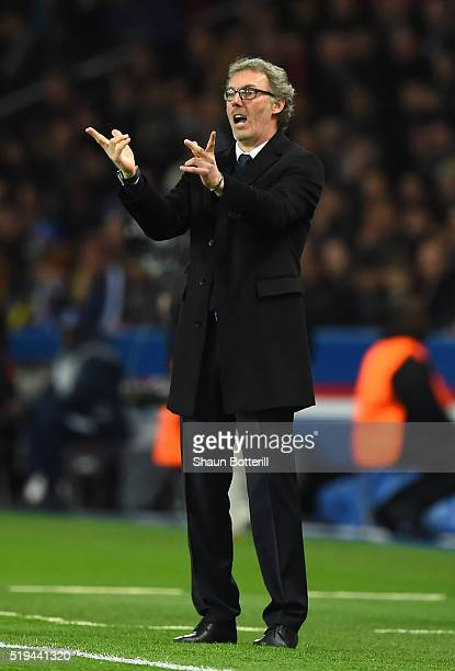 Laurent Blanc coach of Paris SaintGermain gestures during the UEFA Champions League Quarter Final First Leg match between Paris SaintGermain and...