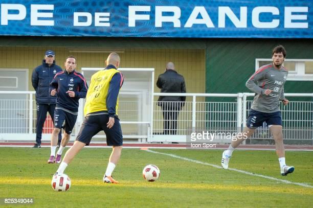 Laurent BLANC / Franck RIBERY / Karim BENZEMA / Yoann GOURCUFF Entrainement Equipe de France Clairefontaine