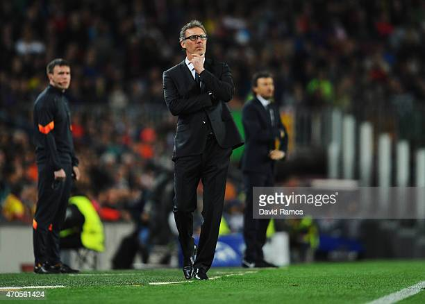 Laurent Blanc head coach of PSG looks on during the UEFA Champions League Quarter Final second leg match between FC Barcelona and Paris SaintGermain...