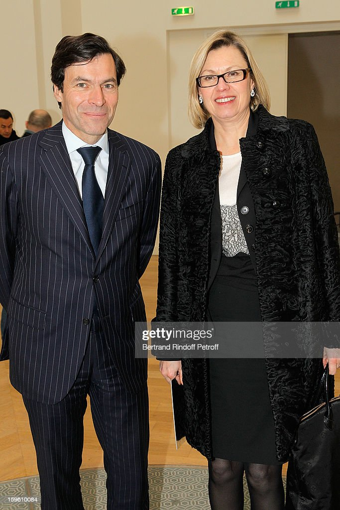 Laurent Boillot, Guerlain CEO, and Chantal Gaemperle attend the Louis Vuitton Men Autumn / Winter 2013 show as part of Paris Fashion Week on January 17, 2013 in Paris, France.