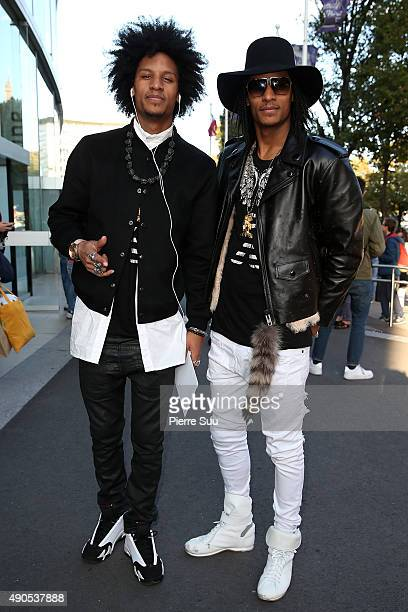 Laurent Bourgeois and Larry Bourgeois ' Les Twins' arrive at the Anthony Vaccarello show as part of the Paris Fashion Week Womenswear Spring/Summer...