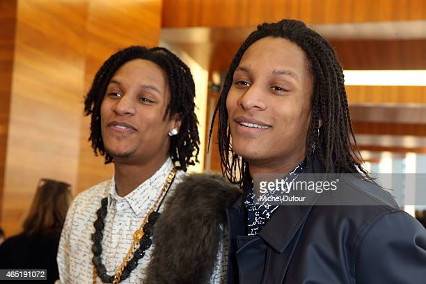 Laurent Bourgeois and Larry Bourgeois ' Les Twins' attend the Anthony Vaccarello show as part of the Paris Fashion Week Womenswear Fall/Winter...