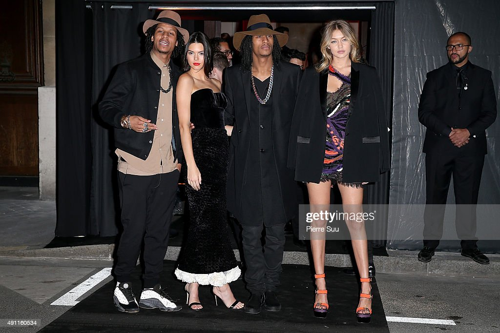Laurent Bourgeois Kendall Jenner Larry Bourgeois ' Les Twins' and Gigi Hadid arrive at Vogue 95th Anniversary Party as part of the Paris Fashion Week...