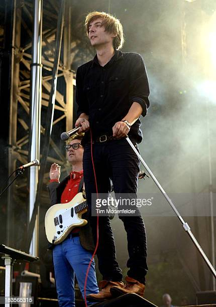 Laurent Brancowitz and Thomas Mars of Phoenix perform as part of the Austin City Limits Music Festival Day Three at Zilker Park on October 6 2013 in...