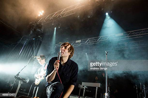 Laurent Brancowitz and Thomas Mars of Phoenix perform on stage at Manchester Academy on February 11 2014 in Manchester United Kingdom