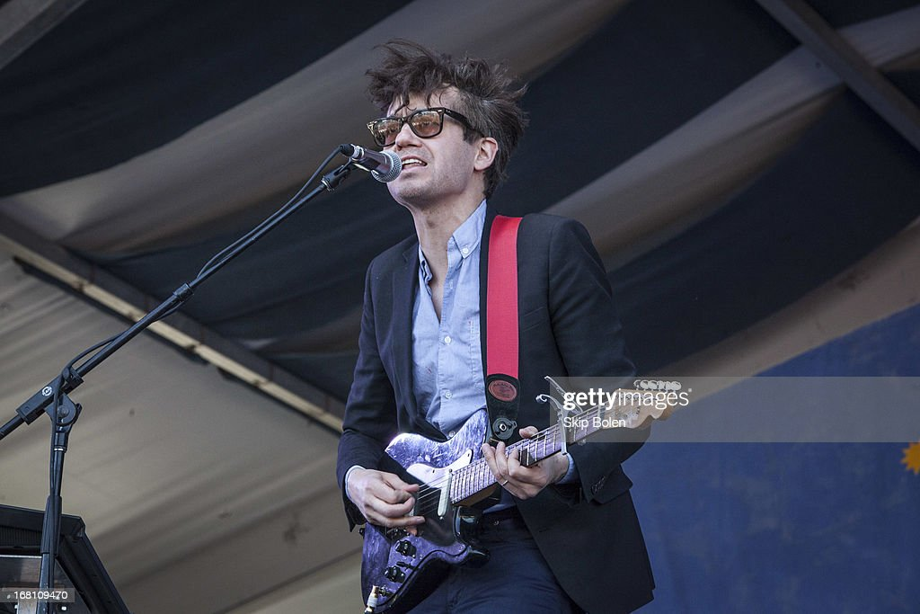 Laurent Brancowitz of Phoenix performs during the 2013 New Orleans Jazz & Heritage Music Festival at Fair Grounds Race Course on May 4, 2013 in New Orleans, Louisiana.