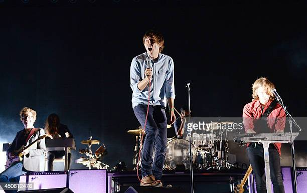 Laurent Brancowitz Thomas Mars and Deck D'Arcy of Phoenix perform during the 2014 Bonnaroo Music Arts Festival on June 13 2014 in Manchester Tennessee