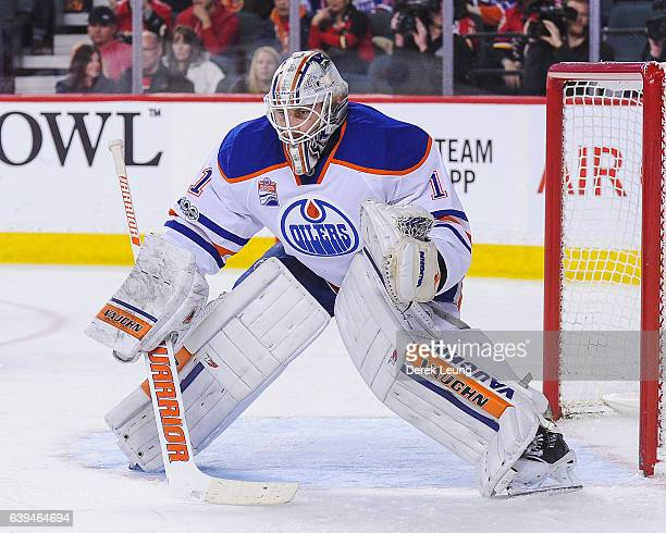 Laurent Brossoit of the Edmonton Oilers in action against the Calgary Flames during an NHL game at Scotiabank Saddledome on January 21 2017 in...