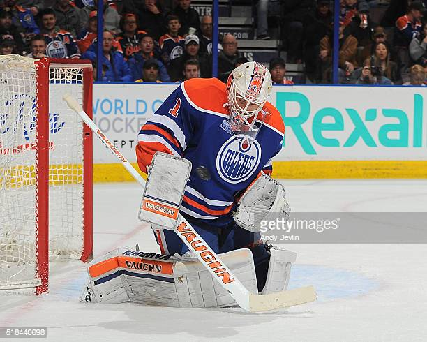 Laurent Brossoit of the Edmonton Oilers makes a save during a game against the Nashville Predators on March 14 2016 at Rexall Place in Edmonton...