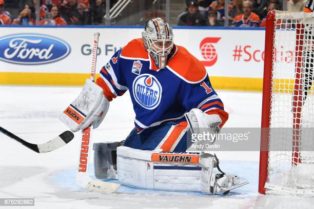 Laurent Brossoit of the Edmonton Oilers makes a save during the game against the Vancouver Canucks on April 9 2017 at Rogers Place in Edmonton...