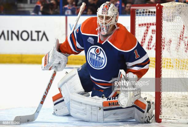 Laurent Brossoit of the Edmonton Oilers plays in the game against the Colorado Avalanche at Rexall Place on March 20 2016 in Edmonton Alberta Canada