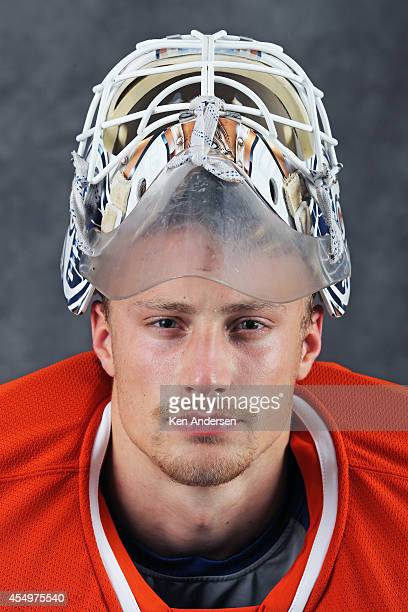 Laurent Brossoit of the Edmonton Oilers poses for an NHLPA The Players Collection portrait at the Mattamy Sports Center on August 23 2014 in Toronto...