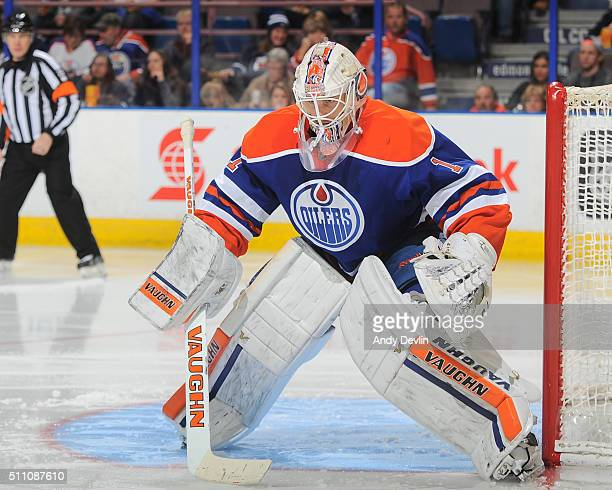 Laurent Brossoit of the Edmonton Oilers prepares to make a save during a game against the Winnipeg Jets on February 13 2016 at Rexall Place in...