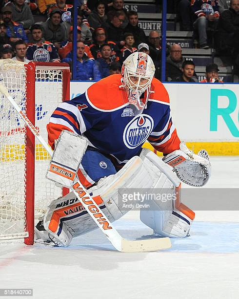 Laurent Brossoit of the Edmonton Oilers prepares to make a save during a game against the Nashville Predators on March 14 2016 at Rexall Place in...